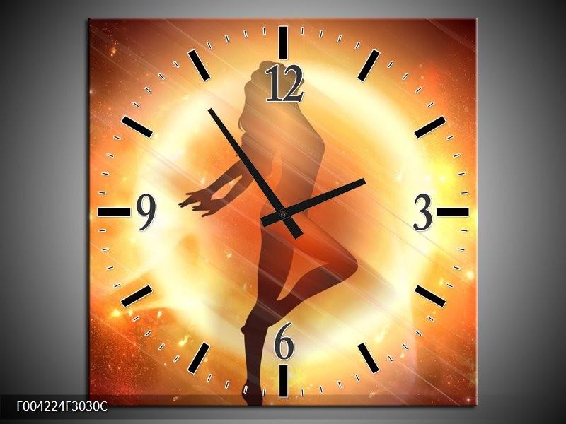 Wandklok op Canvas Dansen | Kleur: Geel, Oranje, Rood | F004224C
