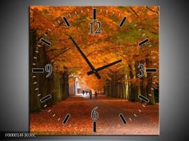 Wandklok op Canvas Herfst | Kleur: Bruin, Oranje, Groen | F000014C