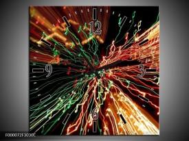 Wandklok op Canvas Abstract | Kleur: Groen, Oranje, Geel | F000072C