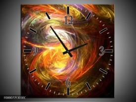 Wandklok op Canvas Vuur | Kleur: Geel, Zwart, Groen | F000077C