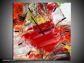 Wandklok op Canvas Abstract | Kleur: Rood, Wit, Grijs | F000088C