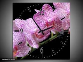 Wandklok op Canvas Orchidee | Kleur: Paars, Zwart | F000089C