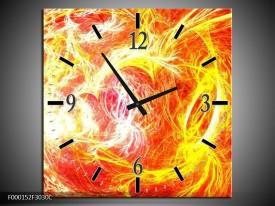 Wandklok op Canvas Vuur   Kleur: Geel, Oranje, Rood   F000152C
