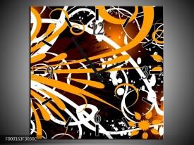 Wandklok op Canvas Abstract | Kleur: Oranje, Wit, Bruin | F000163C