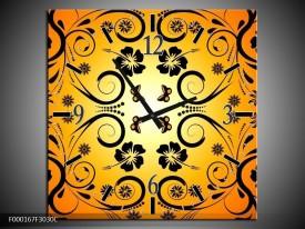 Wandklok op Canvas Abstract | Kleur: Zwart, Geel, Oranje | F000167C