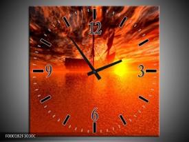 Wandklok op Canvas Boot | Kleur: Rood, Oranje, Geel | F000182C
