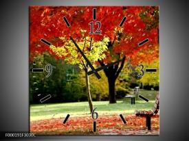 Wandklok op Canvas Park | Kleur: Rood, Geel, Groen | F000191C