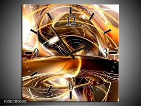 Wandklok op Canvas Abstract | Kleur: Goud, Geel, Bruin | F000203C