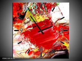 Wandklok op Canvas Abstract | Kleur: Rood, Wit, Zwart | F000230C