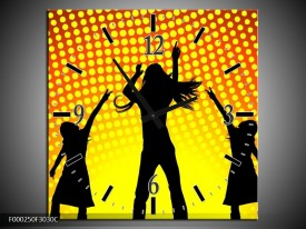 Wandklok op Canvas Dansen | Kleur: Zwart, Geel, Oranje | F000250C