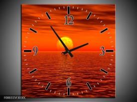 Wandklok op Canvas Zonsondergang | Kleur: Rood, Geel, Zwart | F000315C