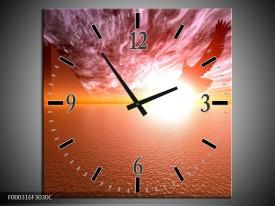 Wandklok op Canvas Zonsondergang | Kleur: Geel, Wit, Oranje | F000316C