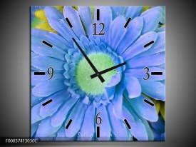 Wandklok op Canvas Gerbera | Kleur: Blauw, Geel, Groen | F000374C