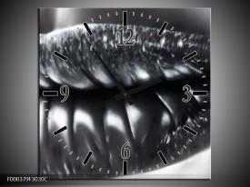 Wandklok op Canvas Lippen | Kleur: Grijs, Zilver, Wit | F000379C