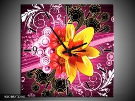 Wandklok op Canvas Abstract   Kleur: Paars, Geel, Wit   F000400C