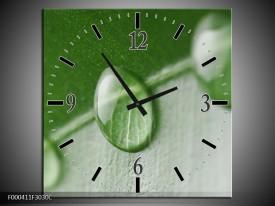 Wandklok op Canvas Druppels | Kleur: Groen, Wit | F000411C