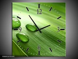 Wandklok op Canvas Druppels | Kleur: Groen, Wit, Grijs | F000416C