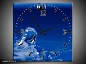 Wandklok op Canvas Druppels | Kleur: Blauw, Wit, Zwart | F000429C