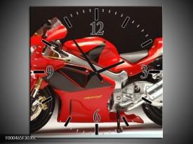 Wandklok op Canvas Motor | Kleur: Rood, Zwart, Zilver | F000465C