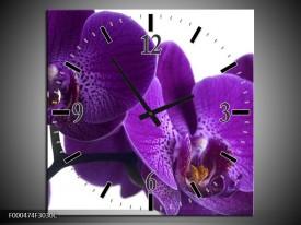 Wandklok op Canvas Orchidee | Kleur: Paars, Wit, Zwart | F000474C