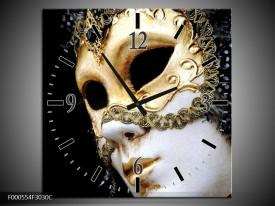 Wandklok op Canvas Masker   Kleur: Wit, Goud, Zwart   F000554C
