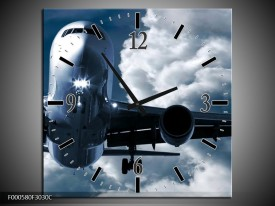 Wandklok op Canvas Vliegtuig | Kleur: Blauw, Grijs, Wit | F000580C