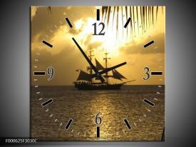 Wandklok op Canvas Zeilboot | Kleur: Geel, Grijs, Zwart | F000625C