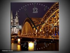 Wandklok op Canvas Bruggen | Kleur: Goud, Geel, Zwart | F000683C