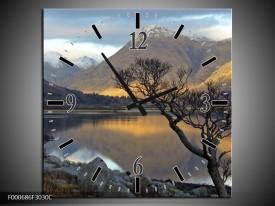 Wandklok op Canvas Bergen | Kleur: Grijs, Zwart, Wit | F000686C