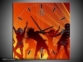Wandklok op Canvas Dansen | Kleur: Rood, Zwart, Geel | F000711C
