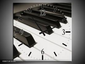 Wandklok op Canvas Piano | Kleur: Zwart, Wit | F000714C
