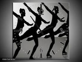 Wandklok op Canvas Dansen   Kleur: Zwart, Wit, Grijs   F000756C