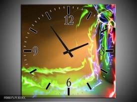 Wandklok op Canvas Abstract | Kleur: Groen, Bruin, Rood | F000757C