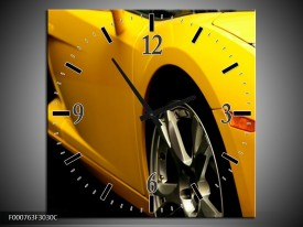 Wandklok op Canvas Auto | Kleur: Geel, Zwart, Wit | F000763C