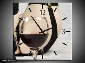 Wandklok op Canvas Wijn | Kleur: Bruin, Grijs, Zwart | F000787C