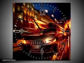 Wandklok op Canvas Auto   Kleur: Rood, Oranje, Zwart   F000797C