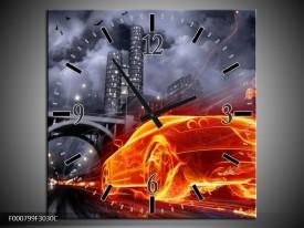 Wandklok op Canvas Auto   Kleur: Rood, Oranje, Zwart   F000799C