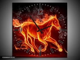 Wandklok op Canvas Paarden   Kleur: Rood, Oranje, Zwart   F000800C
