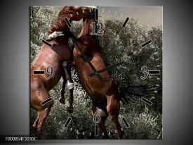 Wandklok op Canvas Paarden   Kleur: Bruin, Grijs   F000854C
