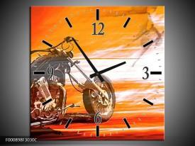 Wandklok op Canvas Motor | Kleur: Geel, Oranje, Rood | F000898C