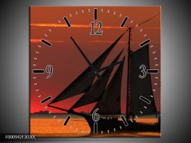 Wandklok op Canvas Zeilboot   Kleur: Rood, Oranje, Zwart   F000942C