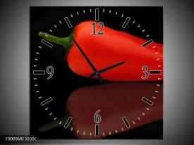 Wandklok op Canvas Paprika | Kleur: Rood, Zwart, Groen | F000968C