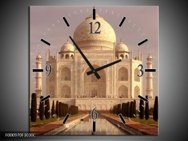 Wandklok op Canvas Taj Mahal | Kleur: Wit, Zwart, Creme | F000970C