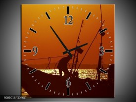 Wandklok op Canvas Boot | Kleur: Bruin, Oranje | F001016C