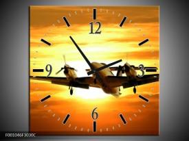 Wandklok op Canvas Vliegtuig   Kleur: Oranje, Geel, Bruin   F001046C
