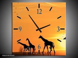 Wandklok op Canvas Giraffes   Kleur: Oranje, Geel, Zwart   F001074C
