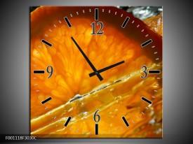 Wandklok op Canvas Fruit | Kleur: Geel, Oranje | F001118C