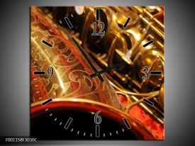 Wandklok op Canvas Muziek | Kleur: Goud, Rood, Zwart | F001158C