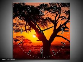 Wandklok op Canvas Zonsondergang | Kleur: Zwart, Geel, Rood | F001288C