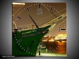 Wandklok op Canvas Boot | Kleur: Groen, Goud | F001374C